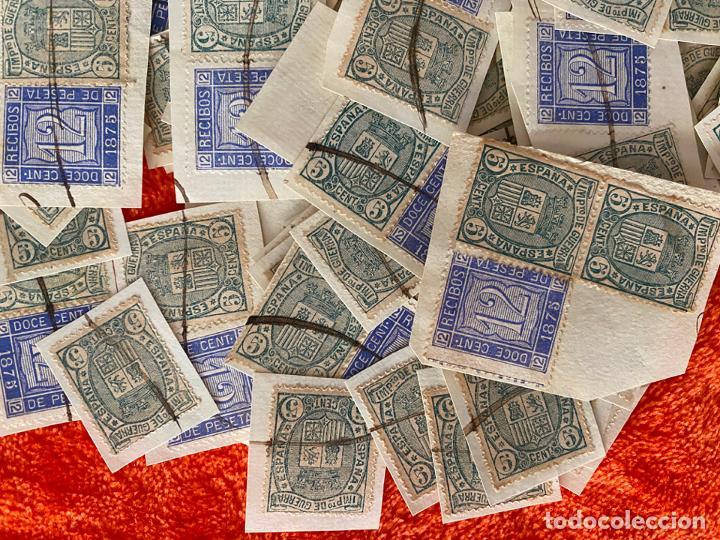 Sellos: IMPUESTO DE GUERRA 5 CENTIMOS Y 12 CENT. RECIBOS FISCAL DE 1875 , LOTE DE 160 SELLOS , USADOS - Foto 4 - 183838038