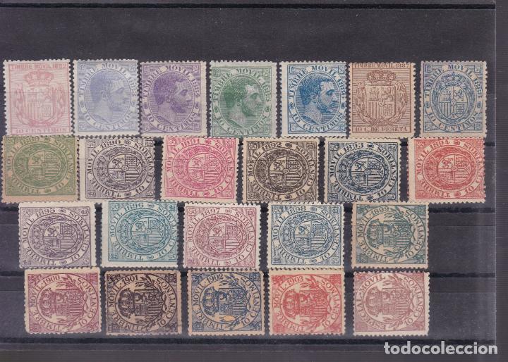 JJ7-FISCALES POSTALES MÓVILES X 23 VALORES NUEVOS (Sellos - España - Alfonso XII de 1.875 a 1.885 - Nuevos)