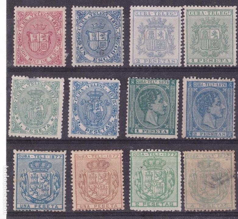 JJ12- CLÁSICOS COLONIAS CUBA X 12 SELLOS (Sellos - España - Alfonso XII de 1.875 a 1.885 - Nuevos)