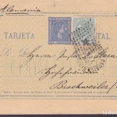 Sellos: F6-58- ENTERO POSTAL TREBOL ESTAFETA CAMBIO MADRID- ALEMANIA 1880. FRANQUEO COMPLEMENTARIO. Lote 186465298