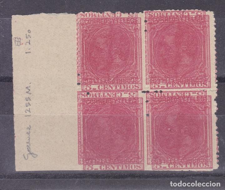 TT24- ALFONSO XII BLOQUE 4 . PRUEBA 5 CTS COLOR ROJO. DOBLE IMPRESIÓN (*) SIN GOMA (Sellos - España - Alfonso XII de 1.875 a 1.885 - Nuevos)