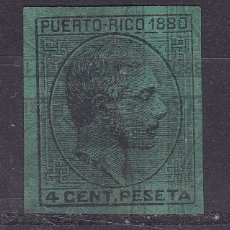 Sellos: TT25- ALFONSO XII PUERTO RICO 4 CTS DOBLE IMPRESIÓN . SIN GOMA. MACULATURA PAPEL AZUL . Lote 187132637