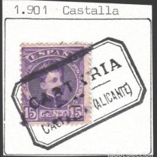 Sellos: CARTERÍAS INICIATIVA PARTICULAR, ALICANTE / CASTALLA. NEGRO. Lote 187211281