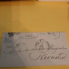 Sellos: 1879 RIBADEO MATASELLO SOBRE SELLO ALFONSO XIII XII EDIFIL 204 DESDE CORUÑA MATASELLO. Lote 190814862