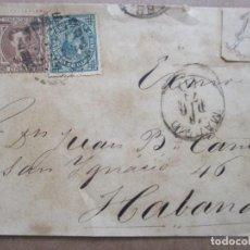 Sellos: FRONTAL CIRCULADA 1876 EDIFIL 177-183 DE MADRID A LA HABANA CUBA. Lote 191720196