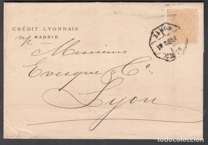 ENVUELTA, MADRID - LYON, MATASELLOS AMBULANTE DESCENDIENTE NORTE, SELLO EDIFIL Nº 206 (Sellos - España - Alfonso XII de 1.875 a 1.885 - Cartas)