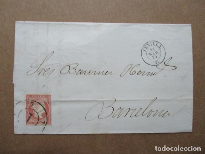 CIRCULADA 1859 DE SEVILLA A BARCELONA RUEDA CARRETA 7 (Sellos - España - Alfonso XII de 1.875 a 1.885 - Cartas)