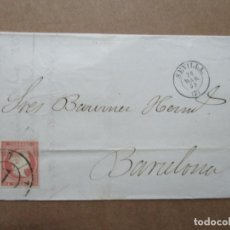 Francobolli: CIRCULADA 1859 DE SEVILLA A BARCELONA RUEDA CARRETA 7. Lote 191976156