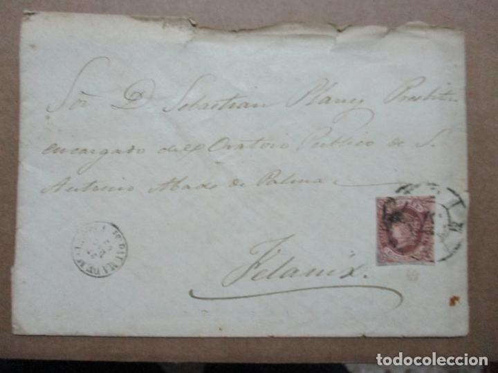CIRCULADA Y ESCRITA 1862 DE PALMA DE MALLORCA BALEARES A FELANITX RUEDA CARRETA 37 (Sellos - España - Alfonso XII de 1.875 a 1.885 - Cartas)