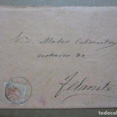 Sellos: CIRCULADA Y ESCRITA 1885 DE PALMA DE MALLORCA A FELANITX BALEARES. Lote 191990965