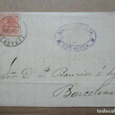 Timbres: CIRCULADA Y ESCRITA 1886 DE ZARAGOZA A BARCELONA CON MATASELLO LLEGADA. Lote 192411757