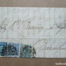 Francobolli: CIRCULADA Y ESCRITA 1877 DE ZARAGOZA A BARCELONA CON MATASELLO LLEGADA. Lote 192411892