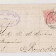 Timbres: ENVUELTA. BILBAO, VIZCAYA. 1885. MARCA COMERCIAL. A RIBADEO, LUGO. Lote 192725453