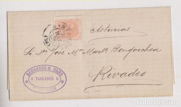 ENVUELTA. SANTANDER, CANTABRIA. TRÉBOL Y MARCA COMERCIAL. 1882 (Sellos - España - Alfonso XII de 1.875 a 1.885 - Cartas)