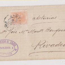 Timbres: ENVUELTA. SANTANDER, CANTABRIA. TRÉBOL Y MARCA COMERCIAL. 1882. Lote 192728326