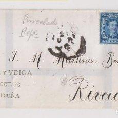 Timbres: ENVUELTA. 1876. CORUÑA, GALICIA. MATASELLOS PINCEL TINTA. Lote 193320536