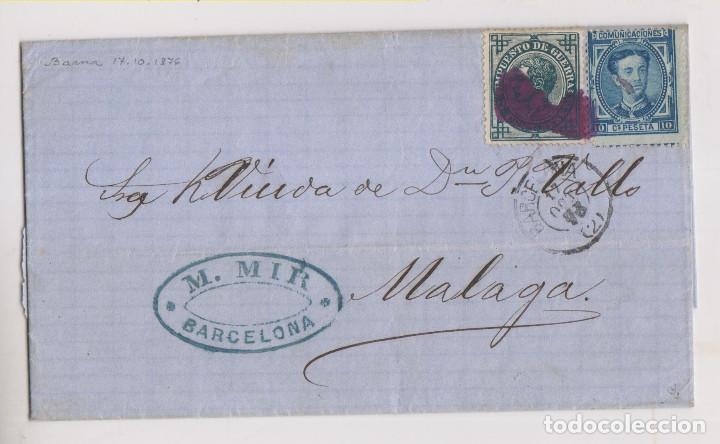 CARTA ENTERA. BARCELONA A MÁLAGA. 1876. MATASELLOS PINCEL TINTA. (Sellos - España - Alfonso XII de 1.875 a 1.885 - Cartas)