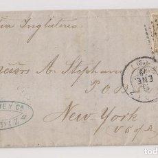 Sellos: CARTA ENTERA. CÁDIZ A NUEVA YORK. 1879. DORSO ESTAFETA DE CAMBIO. Lote 194530712