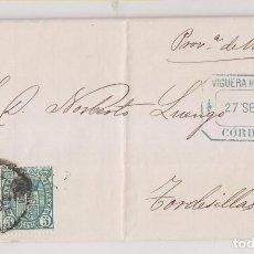 Timbres: CARTA ENTERA. 1875. IMPUESTO DE GUERRA. VIGUERA HERMANOS. CÓRDOBA A TORDESILLAS. Lote 194531923