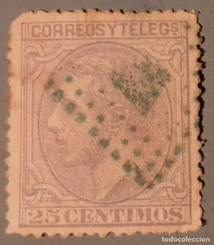 ESPAÑA. ALFONSO XII, 1879. 25 CTS. AZUL GRIS (Nº 204 EDIFIL). (Sellos - España - Alfonso XII de 1.875 a 1.885 - Usados)