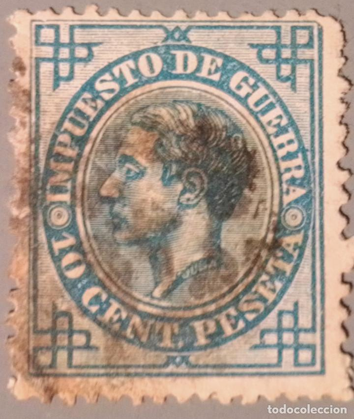 ESPAÑA. 1876, ALFONSO XII. IMPUESTO DE GUERRA. 10 CTS. AZUL (Nº 184 EDIFIL). (Sellos - España - Alfonso XII de 1.875 a 1.885 - Usados)