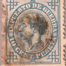 Sellos: ESPAÑA. 1876, ALFONSO XII. IMPUESTO DE GUERRA. 10 CTS. AZUL (Nº 184 EDIFIL).. Lote 194644257