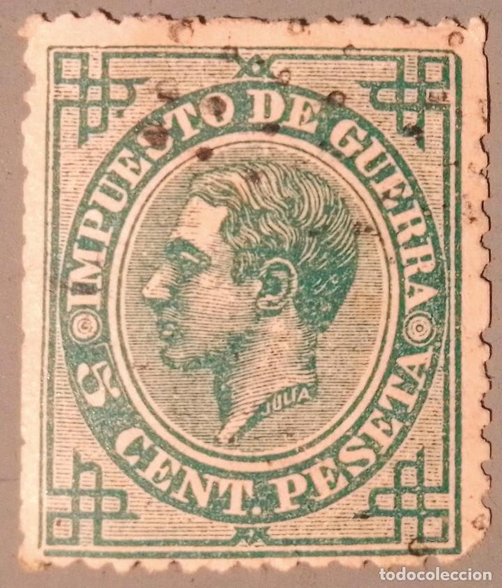 ESPAÑA. 1876, ALFONSO XII. IMPUESTO DE GUERRA. 5 CTS. VERDE (Nº 183 EDIFIL). (Sellos - España - Alfonso XII de 1.875 a 1.885 - Usados)