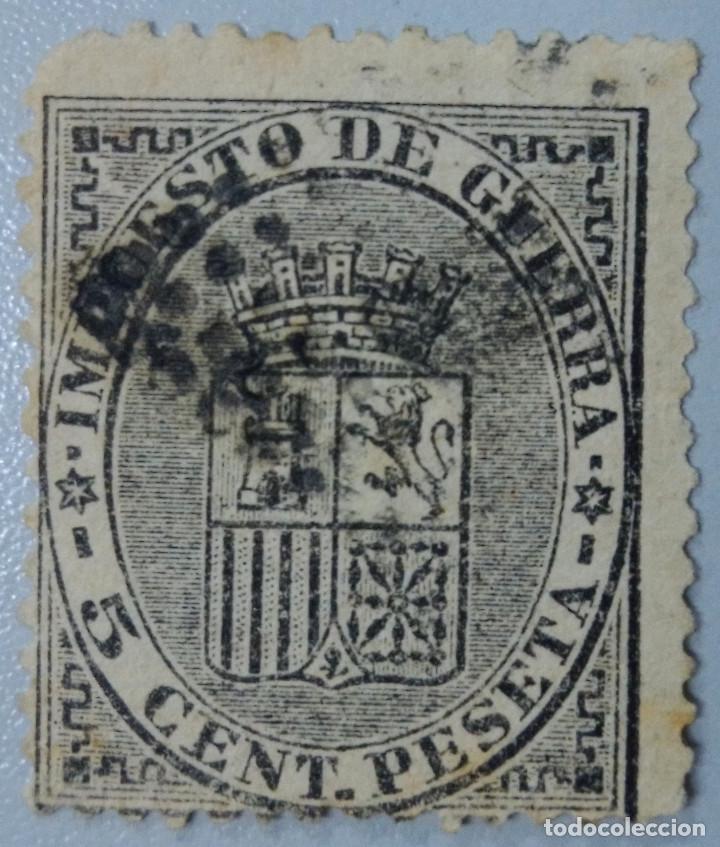 ESPAÑA. 1875, ALFONSO XII. IMPUESTO DE GUERRA. 5 CTS. NEGRO (Nº 154). (Sellos - España - Alfonso XII de 1.875 a 1.885 - Usados)