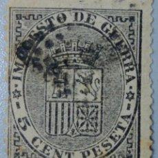 Sellos: ESPAÑA. 1875, ALFONSO XII. IMPUESTO DE GUERRA. 5 CTS. NEGRO (Nº 154).. Lote 194650085