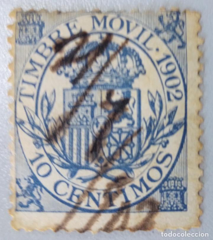 ESPAÑA. FISCALES POSTALES, 1902. ESCUDO DE ESPAÑA. 10 CTS. AZUL (Nº 22 EDIFIL). (Sellos - España - Alfonso XII de 1.875 a 1.885 - Usados)