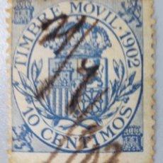 Sellos: ESPAÑA. FISCALES POSTALES, 1902. ESCUDO DE ESPAÑA. 10 CTS. AZUL (Nº 22 EDIFIL). . Lote 194697518