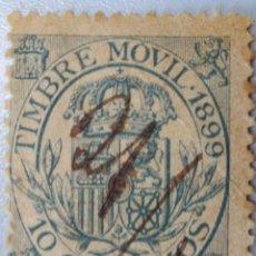 Sellos: ESPAÑA. FISCALES POSTALES, 1899. ESCUDO DE ESPAÑA. 10 CTS. VERDE AZULADO (Nº 19 EDIFIL).. Lote 194697651