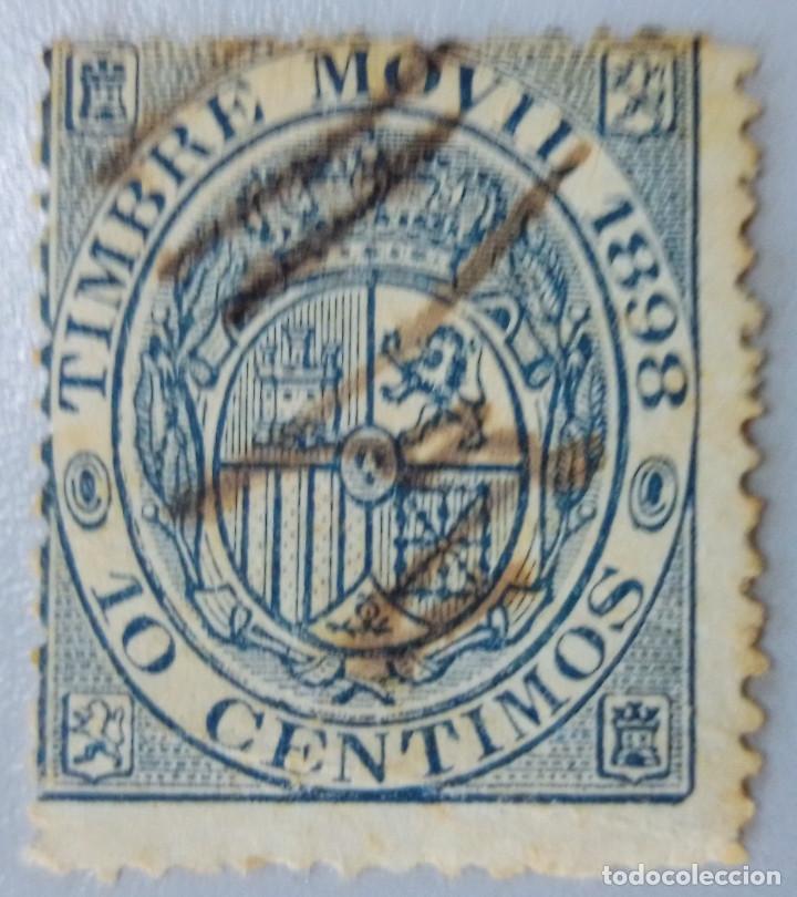 ESPAÑA. FISCALES POSTALES, 1898. ESCUDO DE ESPAÑA. 10 CTS. AZUL (Nº 18 EDIFIL). (Sellos - España - Alfonso XII de 1.875 a 1.885 - Usados)