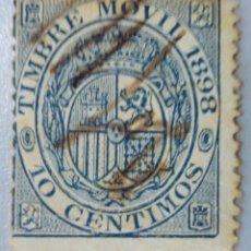 Sellos: ESPAÑA. FISCALES POSTALES, 1898. ESCUDO DE ESPAÑA. 10 CTS. AZUL (Nº 18 EDIFIL).. Lote 194697753