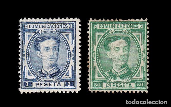 *** ALFONSO XII 1876. 50 CTS Y 1 PESETA. NUEVOS CON FIJASELLOS. EDIFIL 179/180 *** (Sellos - España - Alfonso XII de 1.875 a 1.885 - Nuevos)