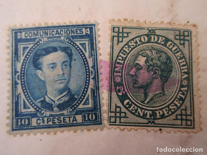 Sellos: Envuelta con sellos de impuesto de guerra de 5 céntimos y comunicaciones 10 centimos, Manresa - Foto 2 - 195181298