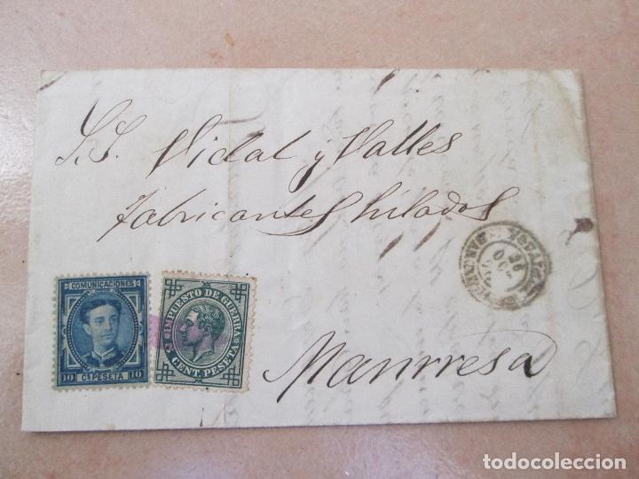 ENVUELTA CON SELLOS DE IMPUESTO DE GUERRA DE 5 CÉNTIMOS Y COMUNICACIONES 10 CENTIMOS, MANRESA (Sellos - España - Alfonso XII de 1.875 a 1.885 - Cartas)