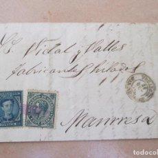 Sellos: ENVUELTA CON SELLOS DE IMPUESTO DE GUERRA DE 5 CÉNTIMOS Y COMUNICACIONES 10 CENTIMOS, MANRESA. Lote 195181298
