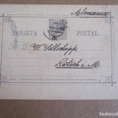 Francobolli: ENTERO POSTAL ALFONSO XII CIRCULADA 1886 DE BARCELONA A ROSTOCK ALEMANIA . Lote 195571096