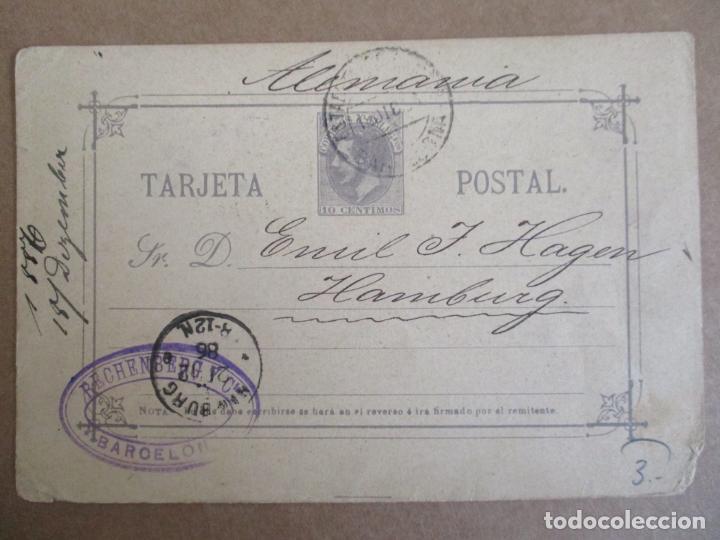 ENTERO POSTAL ALFONSO XII CIRCULADA 1886 DE BARCELONA A HAMBURG ALEMANIA (Sellos - España - Alfonso XII de 1.875 a 1.885 - Cartas)