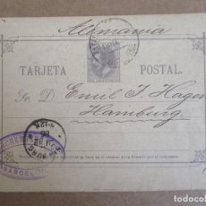 Timbres: ENTERO POSTAL ALFONSO XII CIRCULADA 1886 DE BARCELONA A HAMBURG ALEMANIA . Lote 195571386