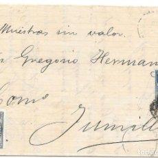Sellos: VALENCIA. EDIFIL Nº 175-183. MUESTRAS SIN VALOR. ENVUELTA DE VALENCIA A JUMILLA. 1876. Lote 195625897