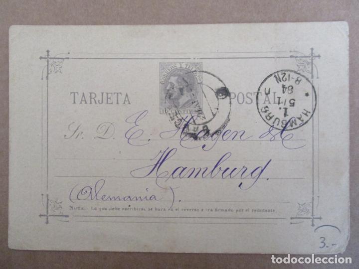 ENTERO POSTAL ALFONSO XII CIRCULADA 1884 DE BARCELONA A HAMBURG ALEMANIA (Sellos - España - Alfonso XII de 1.875 a 1.885 - Cartas)