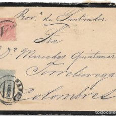 Sellos: EDIFIL Nº 201-202. SOBRE DE LUTO DE MADRID A COLOMBRES. 1889. Lote 195626605