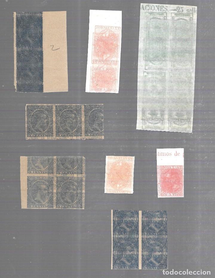Sellos: 1876 - 1899. FICHA MACULATURAS. SIN DENTAR. PAREJAS Y BLOQUES DE 4. DOBLE IMPRESION E INVERTIDA - Foto 2 - 196477777