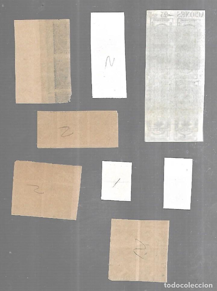Sellos: 1876 - 1899. FICHA MACULATURAS. SIN DENTAR. PAREJAS Y BLOQUES DE 4. DOBLE IMPRESION E INVERTIDA - Foto 3 - 196477777