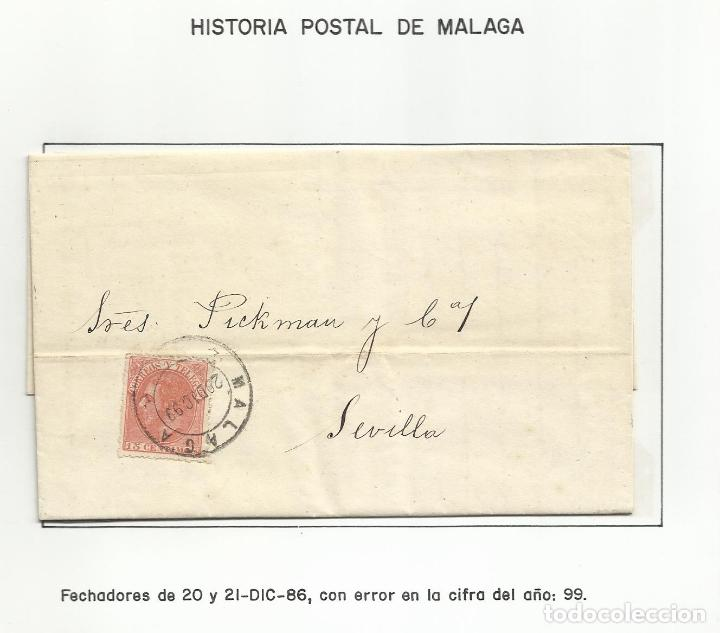 CIRCULADA Y ESCRITA 1886 DE MALAGA A SEVILLA CON ERROR EN LA FECHA 1899 (Sellos - España - Alfonso XII de 1.875 a 1.885 - Cartas)