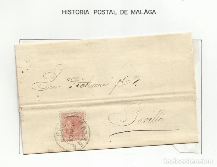 CIRCULADA Y ESCRITA 1886 DE MALAGA A SEVILLA (Sellos - España - Alfonso XII de 1.875 a 1.885 - Cartas)