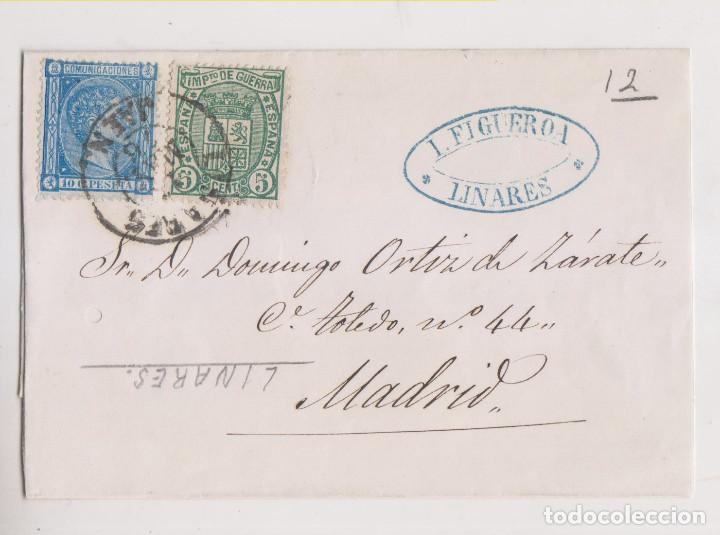 ENVUELTA. LINARES, JAÉN. 1876. IMPUESTO DE GUERRA. PRECIOSO FECHADOR (Sellos - España - Alfonso XII de 1.875 a 1.885 - Cartas)