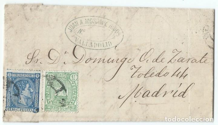 18/01/1876. VALLADOLID A MADRID, EDIFIL 164 Y 154 MATASELLOS RUEDA CARRETA 14 (Sellos - España - Alfonso XII de 1.875 a 1.885 - Cartas)